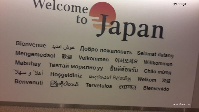 Narita Airport'daki karşılama mesajı...